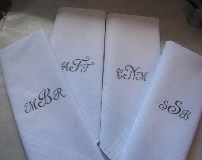 Monogrammed Wedding Handkerchiefs, Groomsman Gifts, Father of the Bride Handkerchief, Embroidered handkerchiefs, Custom Hankys