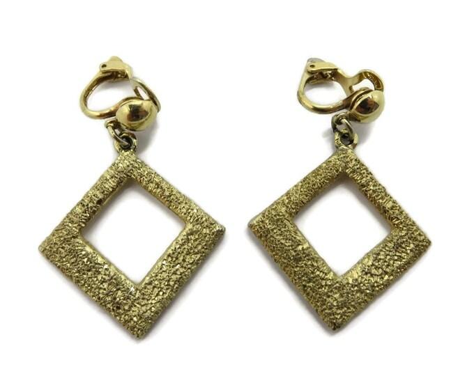 Vintage Coro Dangling Glitter Earrings, Gold Tone Glitter Clip-ons