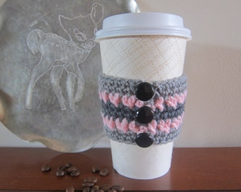 Coffee Cozy, Pink Cozy, Button Cozies, Cozies Crocheted, Grey and Pink Cozy, Coffee Sleeves, Sleeve for Cup, Coffee Cup Sleeve, Cup Cozies