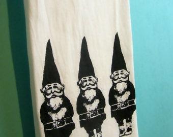 Gnomes Tea Towel CUTE screen print gnomes kitchen towels home decor black retro Indie Housewares gardening gifts