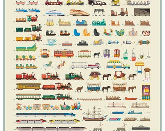 "Disneyland Resort Attraction and Transportation Vehicles Poster 22"" x 28"""