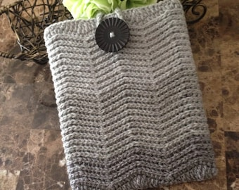 SALE READY to ship Crochet iPad  case, crochet case for iPad, grey color with a black button