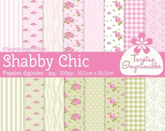 Digital papers for print Shabby chic - immediate download - JPG - Scrapbook