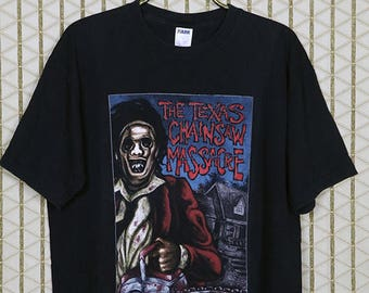 The Texas Chainsaw Massacre shirt, Leatherface horror movie T-shirt, faded black tee, Tobe Hooper, vintage rare
