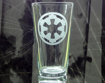 Empire Glass - Etched Pint Glass - Star Wars Drinkware - Etched Barware - Add a Name or Gamer Tag - Dark Side - Geek Gift - SciFi Gift