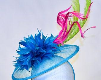 Teal, Lime Green, Pink, & Aqua Sinamay Kentucky Derby Fascinator