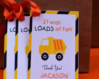 Construction Favor Tags, Dump Truck Favor Tags, Tonka Truck Thank You, Construction Party Favors, Construction Thank You Tags, Dump Truck