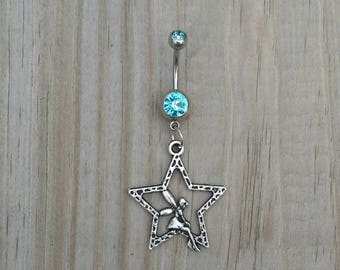 Star Fairy Belly Button Ring,Pentagram Navel Ring, Dangle Belly Ring, Body Piercing, Celestial Moon Charm, Body Jewelry, 14g Barbell.