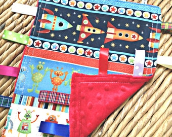 Rockets space ships & aliens baby taggy blanket