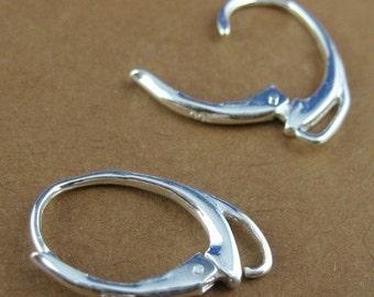 Sterling Silver Earwire - Fancy Leverback  style ( 2 pcs - 1 pair ) SKU: 203007-FANCY