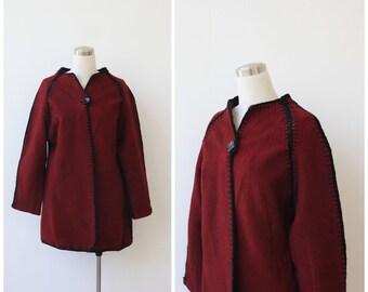 1960s Burgundy Wine Wool Jacket Tribal Crochet Trimmed Wool Coat