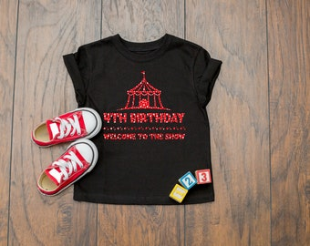 Cute Circus Theme 4th Birthday Quote Party Celebration  Short Sleeve Kids T-Shirt
