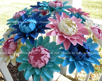 Mix Color Stemmed Daisy Paper Flowers - 12 pcs - Made to Order - For Weddings and Events, Home Decor, Gifts