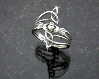 "Modern ""Take Me Home"" Claddagh & Trinity Ring, Stainless Steel Ring, Claddaugh Ring, Irish Jewelry, Celtic Jewelry (S76)"