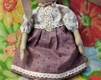 Little Lily Easter Bunny ~ One of a Kind ~ Primitive ~ Folk Art ~ Collectible ~ Doll