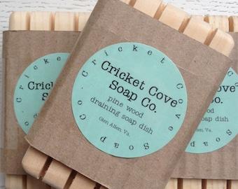 SOAP DISH -  Pine Wood Draining Soap Dish for Handmade Soap - Wood Soap Dish - Draining Soap Dish