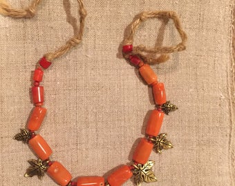 Ukrainian coral necklace with maple leaves