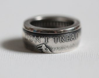 Don't Tread on Me Silver Handmade Coin Ring, custom sizes 10-15