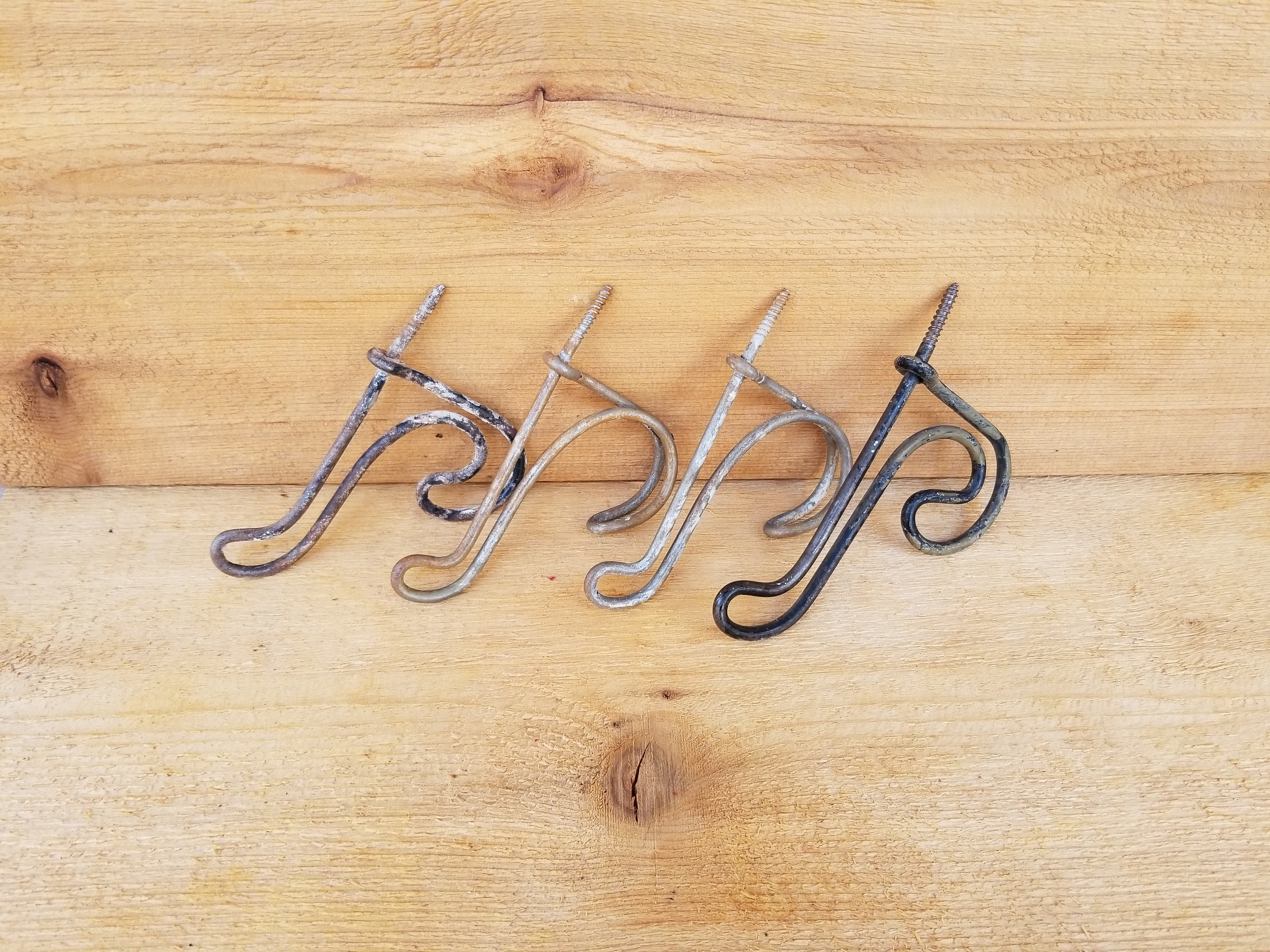4 Mismatched Vintage Twisted Wire Double Coat Hooks ~ Salvaged ...