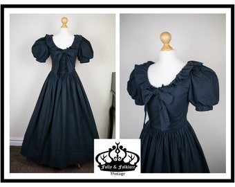 Amazing 80s Laura Ashley Black Cotton Maxi Length Ballgown with Puff Sleeves, Witchy, Gothic, Edwardian, Victorian, Steampunk, Size XXS