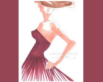 Fashion Illustration Giclée Art Print // 11x14 / Wall Art / Gifts for Her / High Fashion / Bedroom Decor / Girls Room Art / Vogue Art