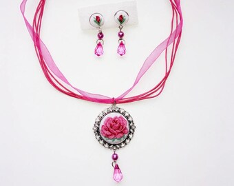 Micro embroidery set pink rose of Necklace and Earrings,Hand Embroidery,Gift for women,Valentine's day, embroidered  jewelry