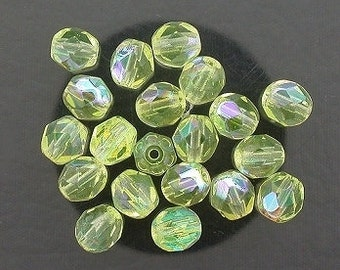 20 jonquil ab czech fire crystal faceted beads 6mm