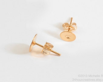 14Kt Gold-Filled Earstuds - 6mm Flat Pad Blank Gold Earring Posts - Glue on Ear Studs with Earnut/Backings - 1 Pair - MADE IN USA