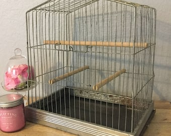 Vintage Industrial Metal Wire Bird Cage with Three Wood Dowels and Side Bottom Tray