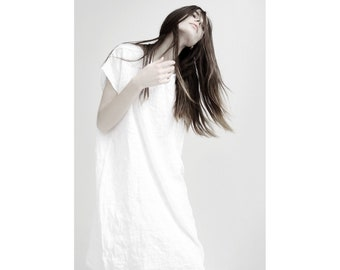 White raw age linen tunic/ simple linen dress/ loose linen dress/