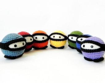 Amigurumi toy pattern - Rainbow Ninja - Crochet amigurumi doll tutorial PDF