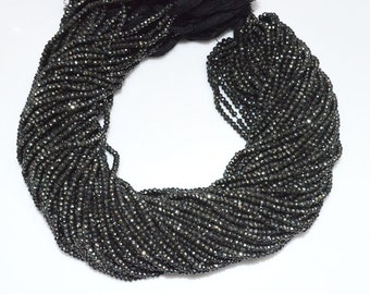 "Good Quality Black Spinel AB Coated Rondelle Beads - Black Spinel Coated Faceted Rondelle Beads , 2.75 - 3 mm , 13"" - MC865"