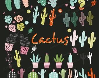 Cactus clip art, Succulent clipart, cactus vector, Succulent vector, cactus flower, cacti desert, green pink floral, hand drawn, commercial