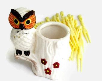 Vintage Owl Toothpick Holder Porcelain 1960s Signed Lego