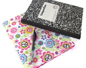 Notebook Journal - Peace Daisy Reusable Fabric Covered Composition Book Cover - pen and composition book, fabric covered notebook, journal