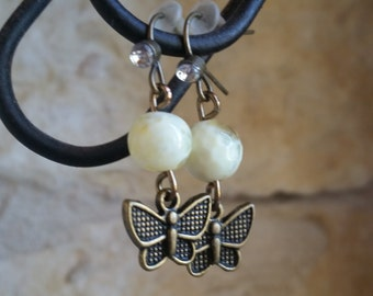 Beautiful Honeycomb Yellow and Brass Butterfly Earrings