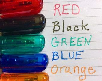 Mini GLITTER GEL PENS Set 5 Bright Colors Red Blue Orange Green Black Colored Planner Pocket Pen Small Glittered Crafting Crafts Craft Cards