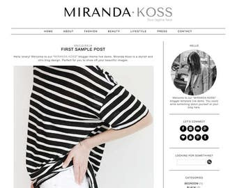 Blogger Template Premade Blog Theme Design Miranda Koss - Instant Digital Download, Clean, Black and White