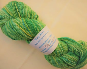 Handspun yarn - Blue Faced Leicester wool - 102 grams - blend of green and yellow