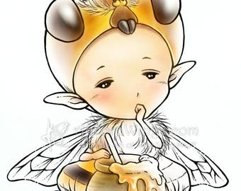 Digital Stamp - Honey Bee Sprite - Sleepy Honeybee with a Pot of Honey - Fantasy Line Art for Cards & Crafts by Mitzi Sato-Wiuff