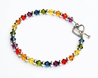 Rainbow Bracelet, Swarovski Crystals, Rainbow Colors