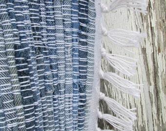 """Blue River- 61""""x39"""" Denim Rag Runner Rug, woven rug, blue jean rug, woven jean rug, blue jeans rug, jean rug, recycled rug, woven denim rug"""