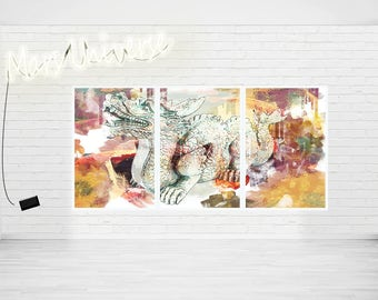 Dragon Abstract Modern Art Prints Or Ready to hang Canvases - selec size and format