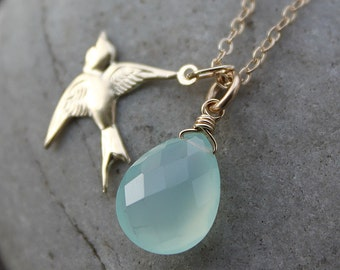 Aqua Blue Chalcedony and Sparrow Charm Necklace - 14KT Gold Fill