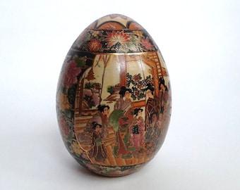 "8.25"" Tall Vintage Chinese Sasuma Hand Painted Porcelain Egg"