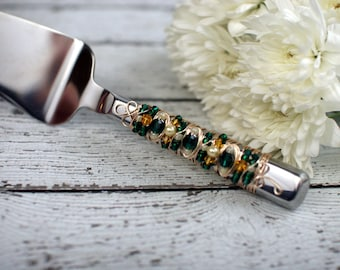 SPECIAL OCCASIONS Green, Yellow, Ivory & Gold Beaded Cake Server, University of Oregon, Ducks, birthday gift, wedding, bridal, college decor