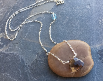 Smokey quartz and blue topaz necklace in sterling silver. BronzeLeafStudio, blue and brown