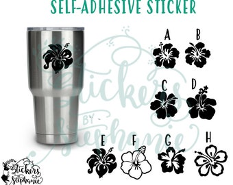 STICKER v21 Hibiscus Flowers Tropical Hawaiian Self-Adhesive Vinyl Decal *Specify Color Choice in Notes or BLACK Vinyl