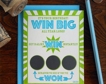 letterpress win big all year long scratch off greeting card it's your birthday best year yet! lotto lover win instantly card