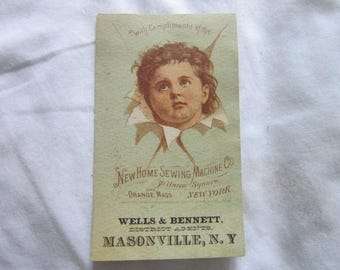 Antique Victorian Trade Card New Home Sewing Machine Co Masonville New York